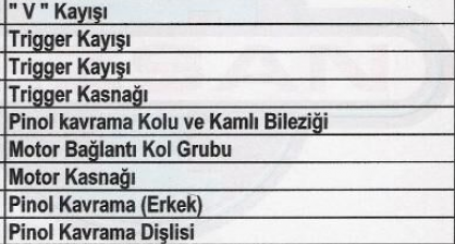 Freze Yedek Parça Listesi 2019-3
